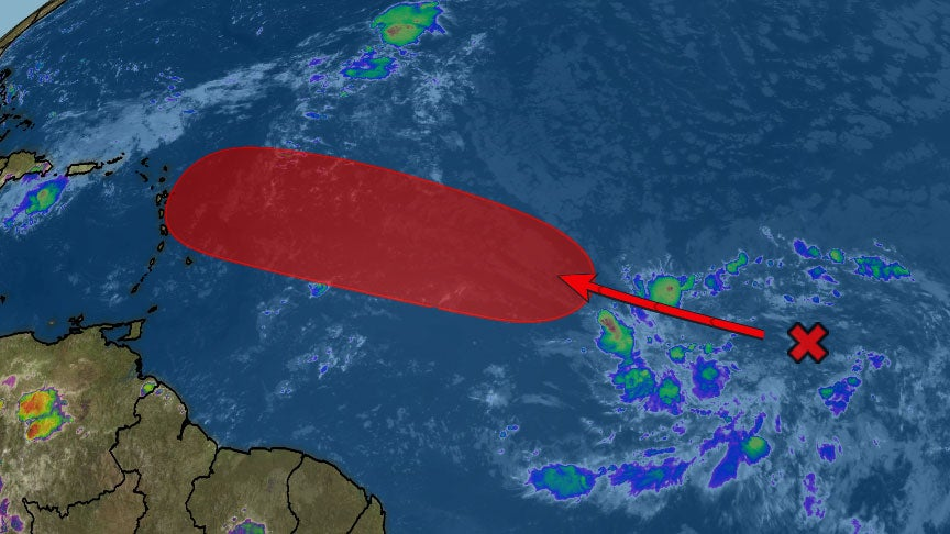 atlantic tropical disturbance likely to develop east of