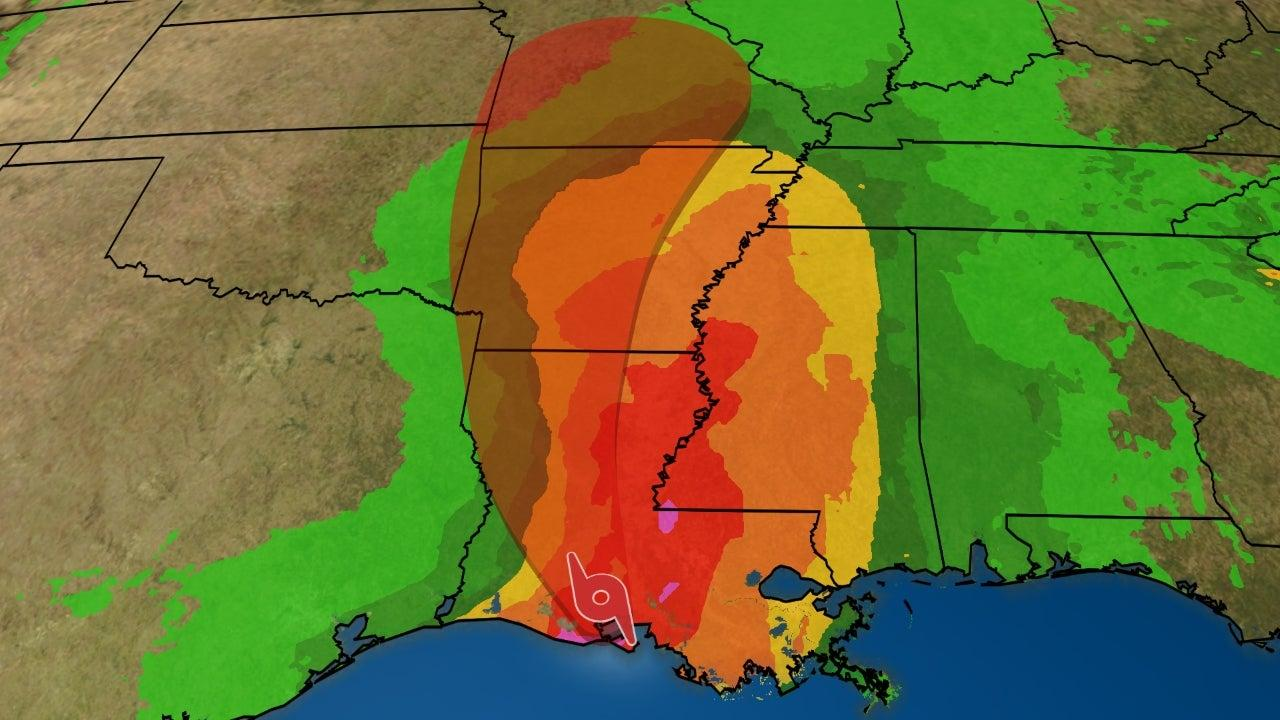 barry now bringing heavy rain to the gulf coast  dangerous