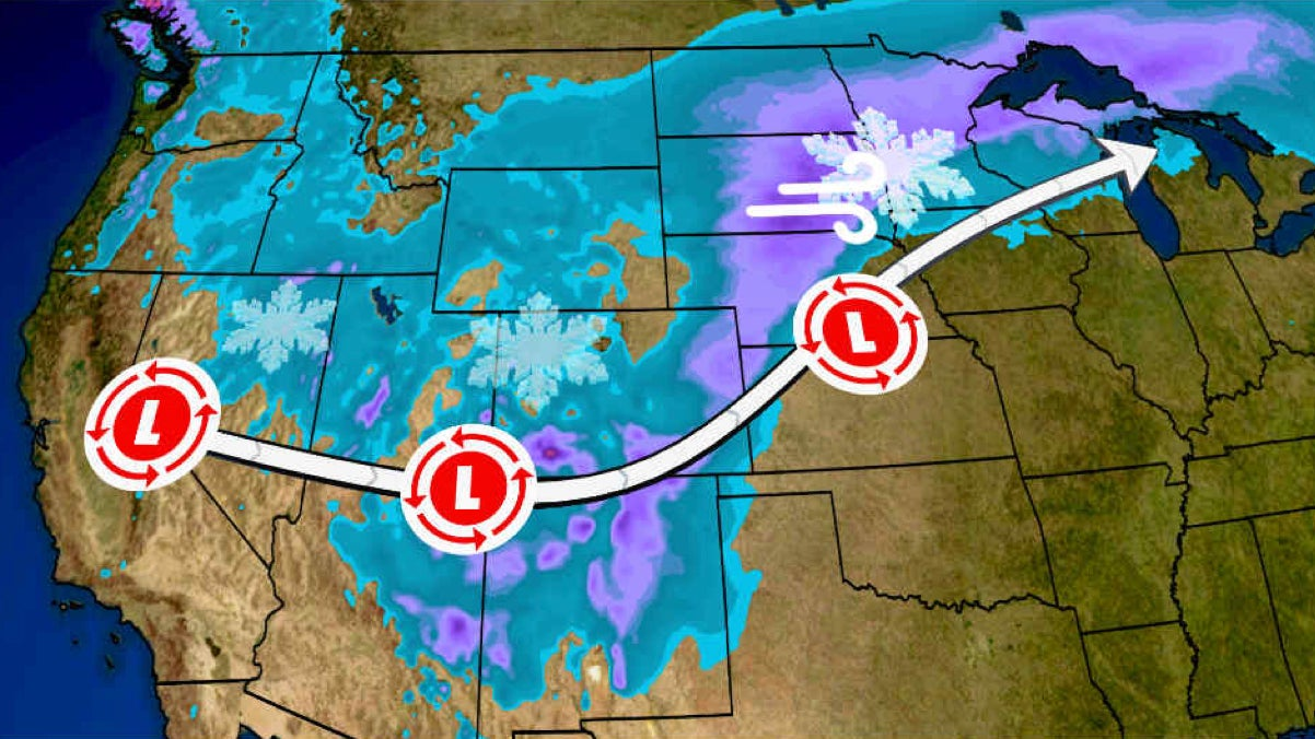 Winter Storm Eboni to Spread Snow and Wind from West to Midwest Christmas Week