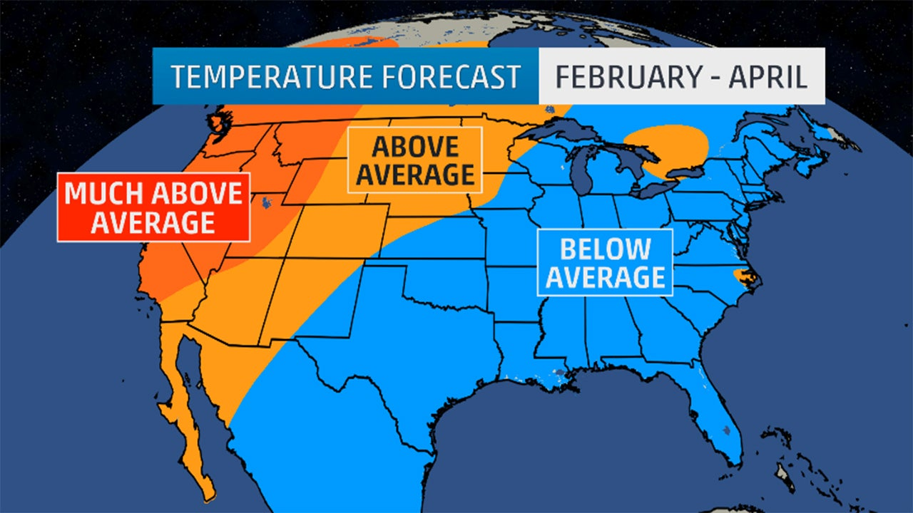 February april outlook below average temperatures in the for Warm getaways in march