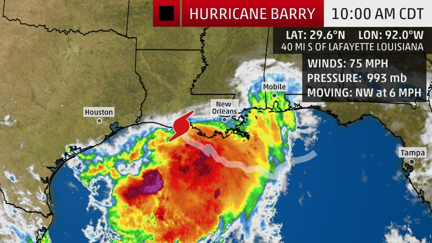 barry  now a hurricane  expected to make landfall in