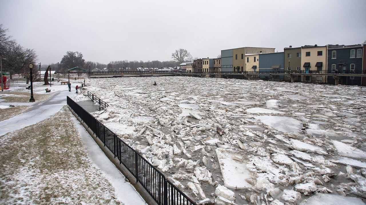 after extreme cold  ice jams cause river flooding in