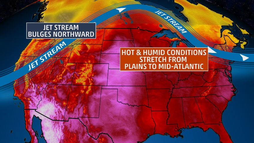 surge of heat and humidity will persist this weekend in