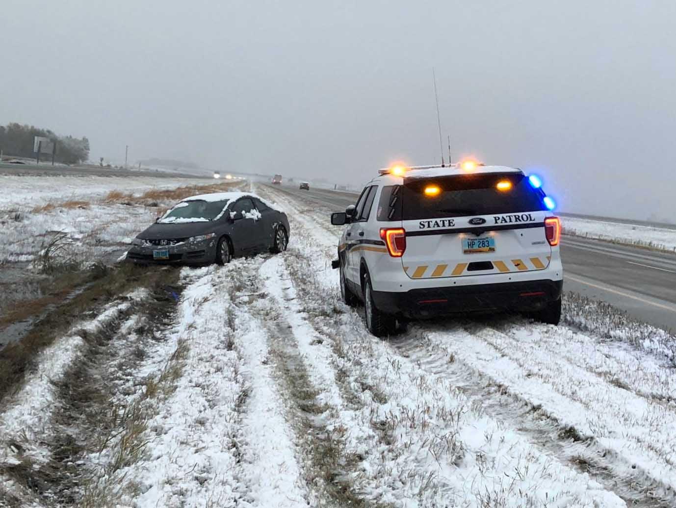 Snowstorm Closes North Dakota Interstates; Highway Patrol Assists Dozens of Stranded Motorists