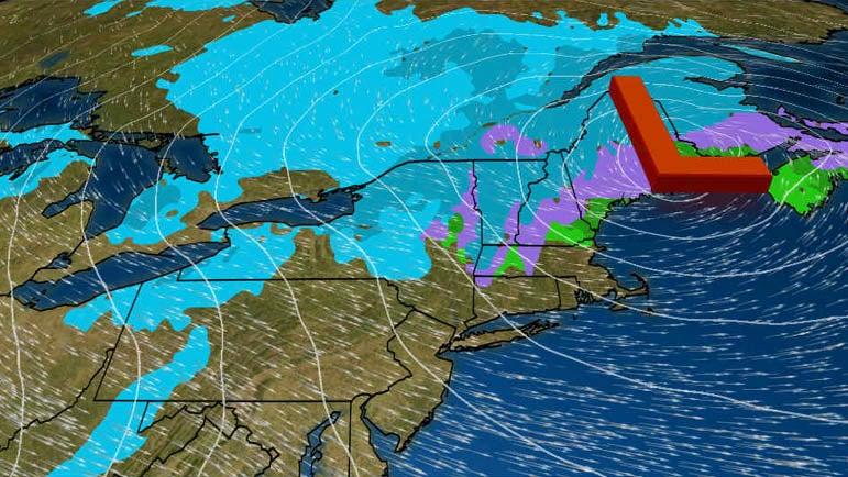 Otra ronda de nieve para el interior del noreste el miércoles