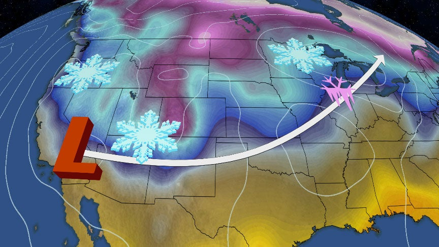winter storm quiana will dive into west before spreading