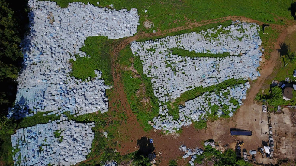 tens of thousands of water bottles intended for hurricane