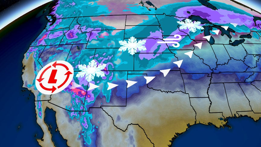 Winter Storm Quiana Will Produce Heavy Snow in the Southwest Before Spreading More Snow, Wind, Ice into Plains, Midwest