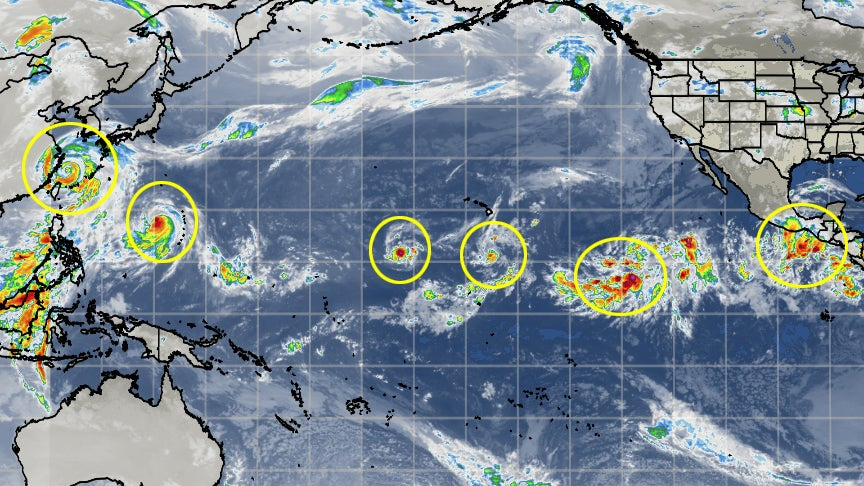 Six Tropical Cyclones At Once in the Pacific Ocean How Rare Is