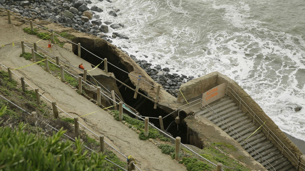 heavy rains  king tides cause severe erosion in pacifica