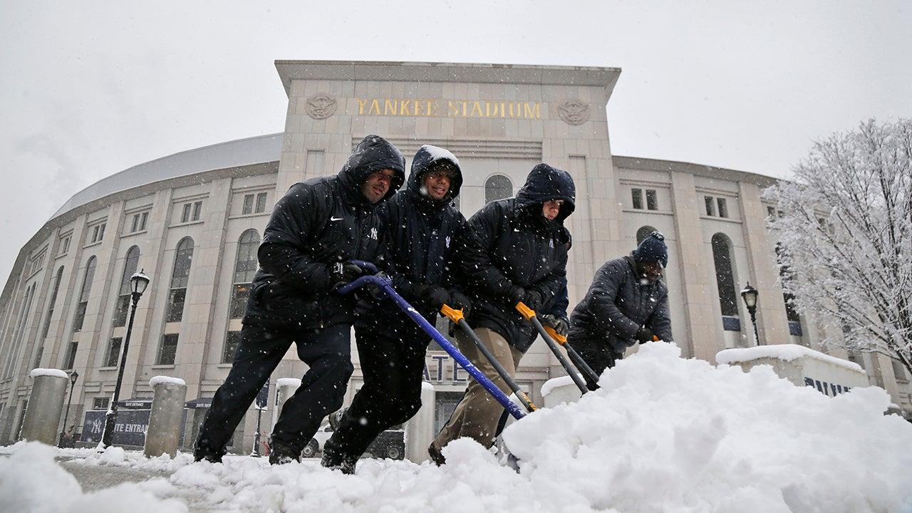 Northeast Spring Snowstorm Postpones Yankees-Rays Game; Dozens of Flights Canceled in New York City