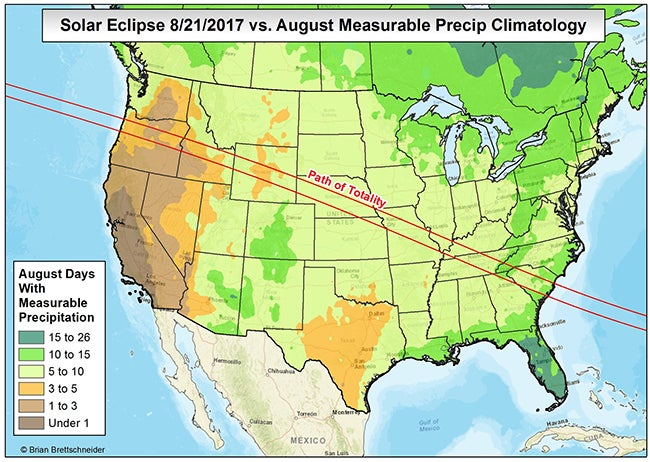 Timing Of This Summers Solar Eclipse Is Ideal For Minimal Weather - Us weather forecast map 10 days
