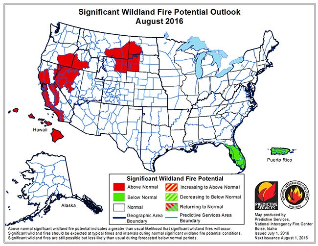 Where Large Wildfires Are Most Common In The US Weather - Map of fire risk us