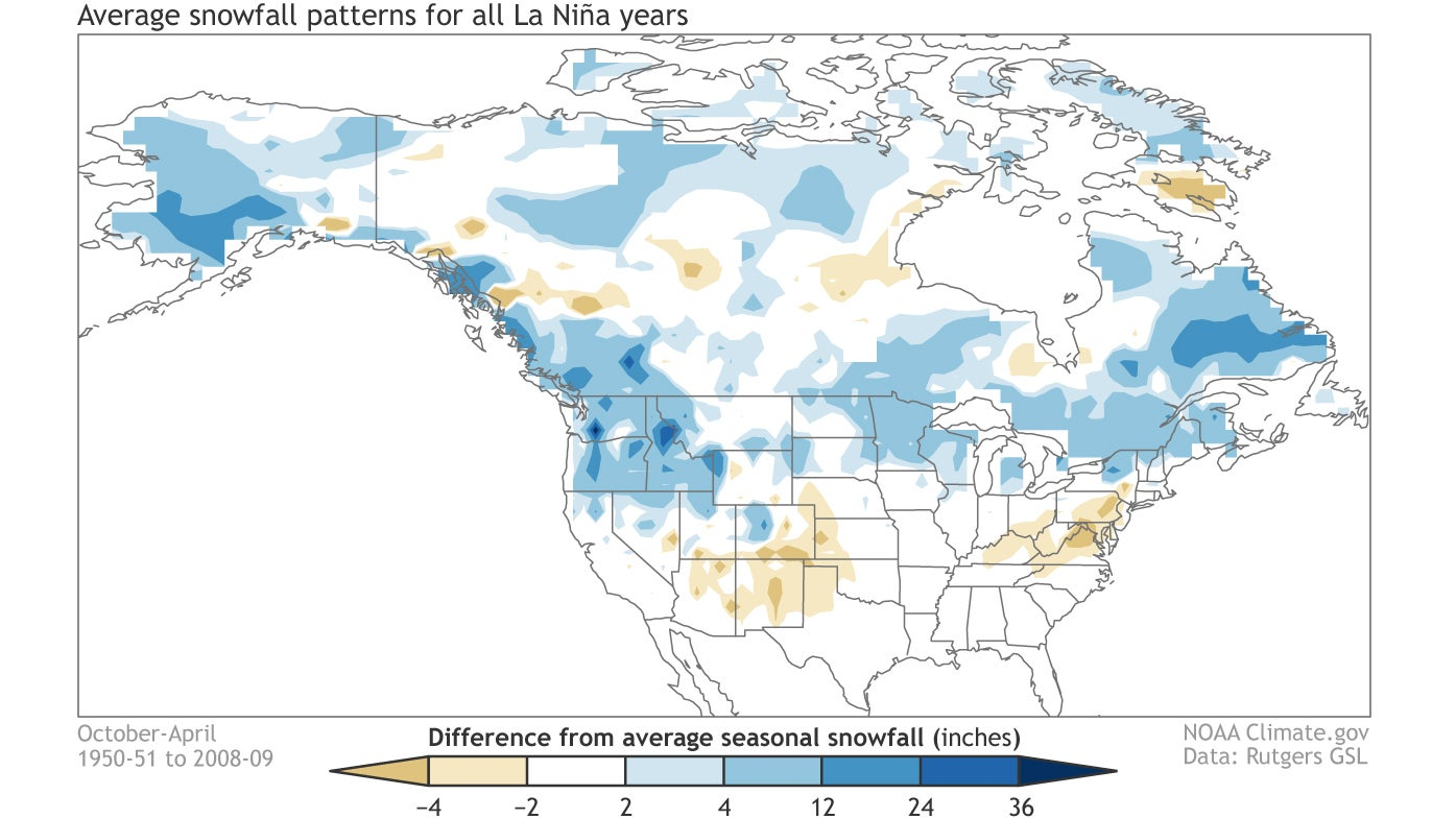 Snow Fall Map Of Canada How Much Snow Can You Expect in La Niña Winters? | The Weather