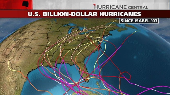 Hurricane Isabel Started It: 15 U.S. Hurricanes in 10 Years That Cost at Least $1 Billion Each ...