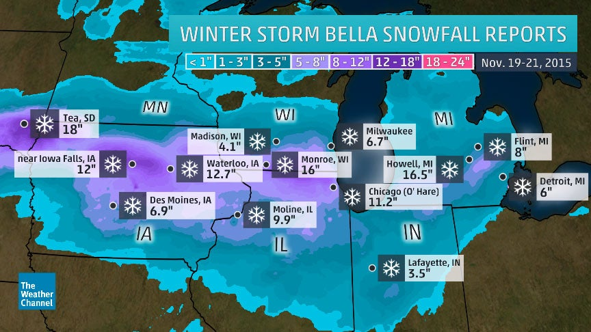 winter storm bella dumps up to 16 inches of snow in