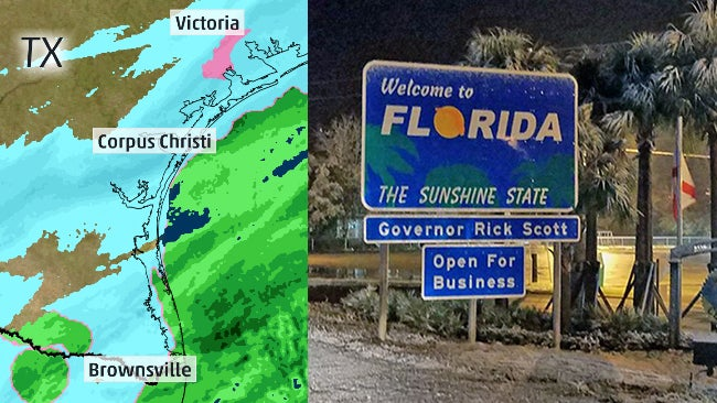 Map Of The Panhandle Of Florida.Snow Fell In South Texas Along The Gulf Coast Even The Florida