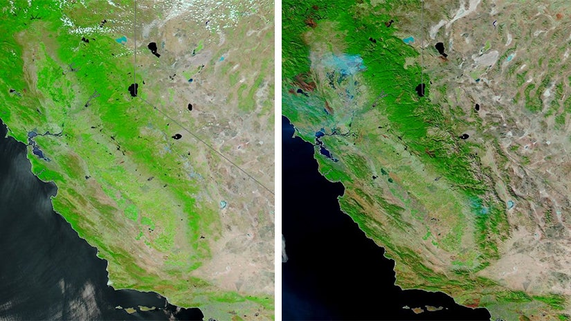 Before and After Satellite Images Show Burn Areas From California's 2018 Wildfires