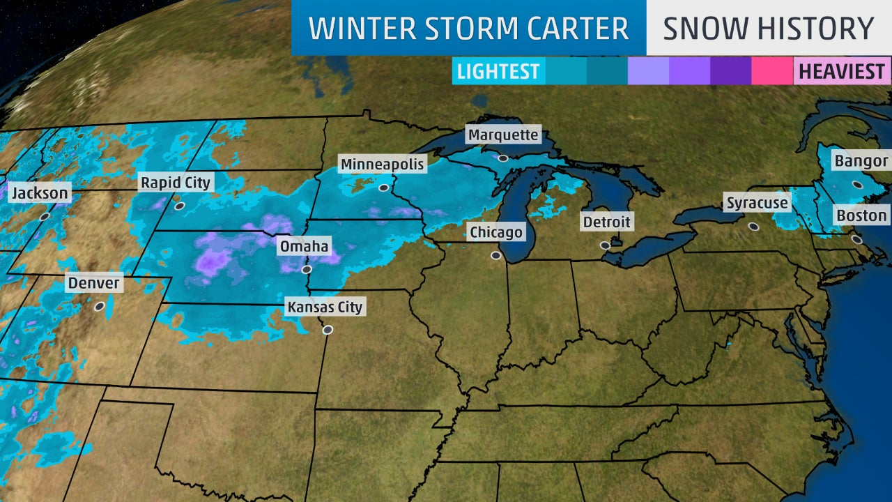 winter storm carter brought snow  ice  gusty winds to the