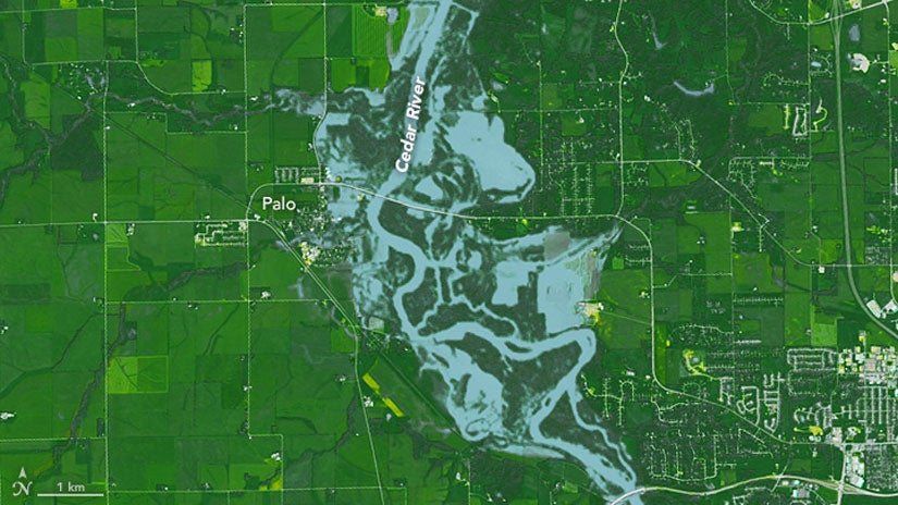 severe flooding in iowa  as seen from space