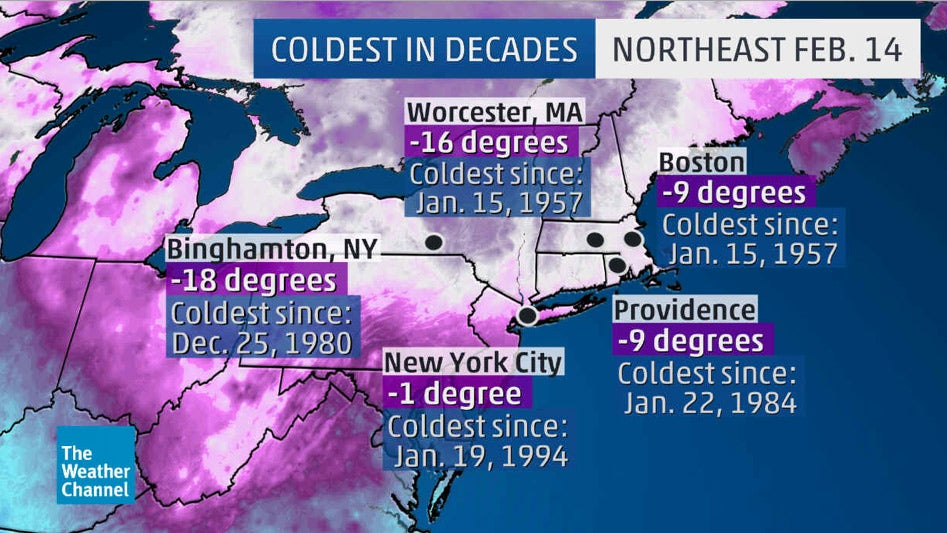 Valentines Day Arctic Outbreak Brings Coldest