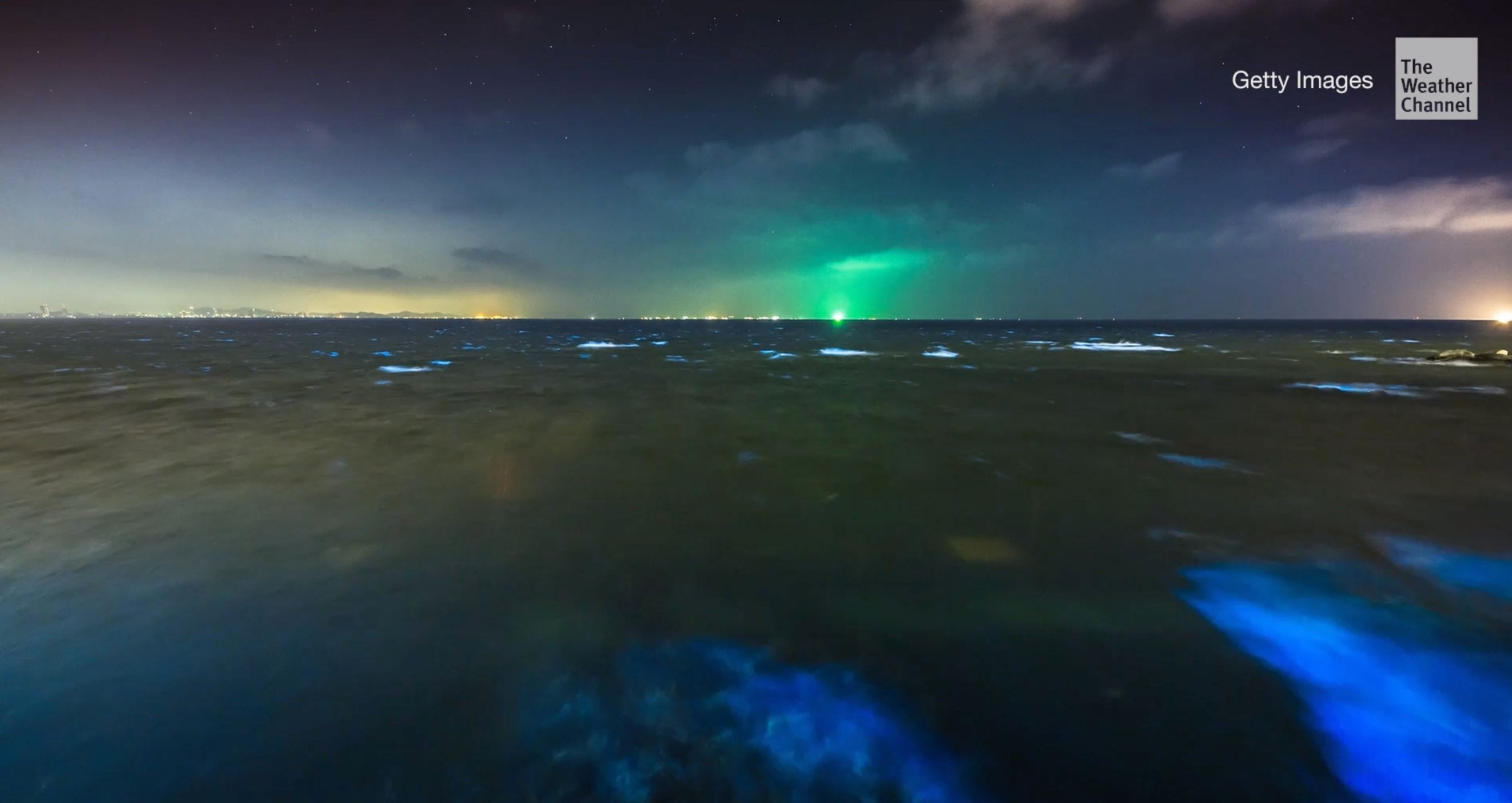 Glowing waves at Jervis Bay in Australia, about 120 miles south of Sydney, make a dazzling sight. The stunning blue bioluminescent hue is produced by an algae when it's disturbed.