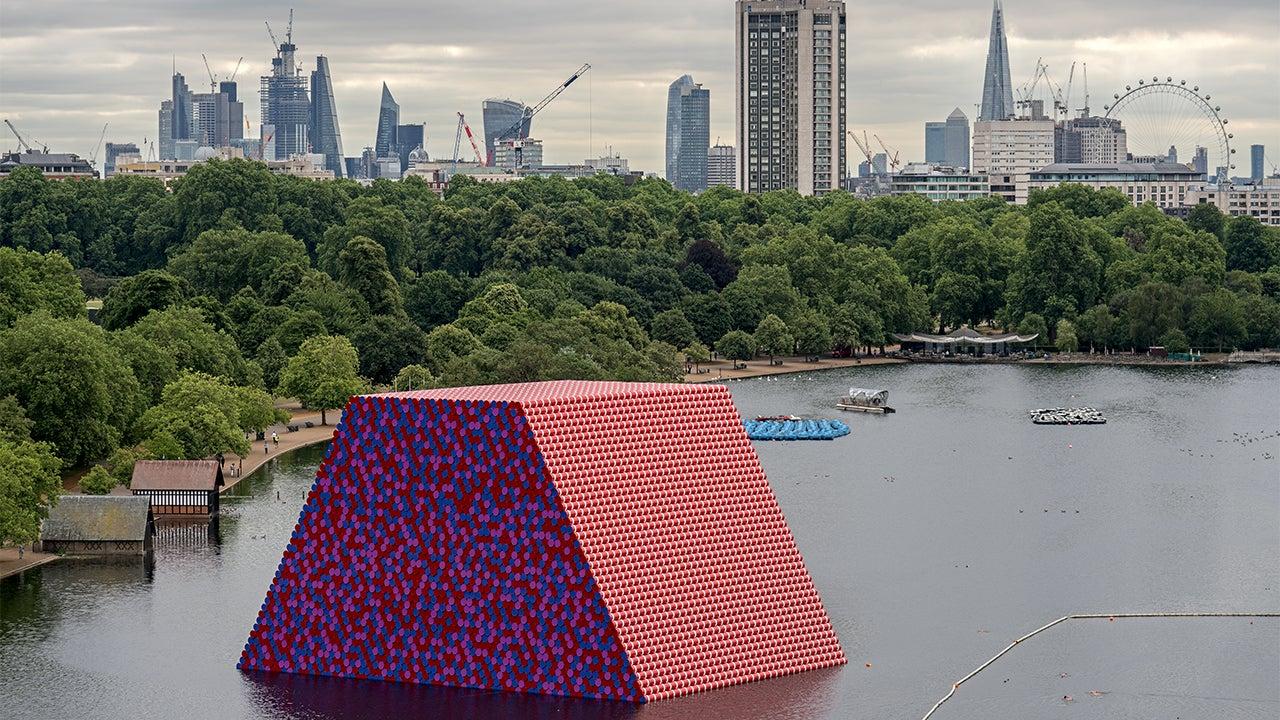 Environmental Artist Christo Creates Massive Oil Barrel Pyramid in London's Hyde Park