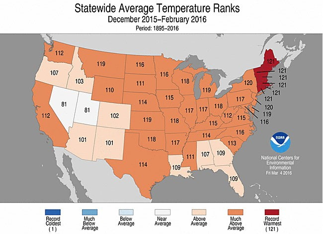 Lower 48 States Just Experienced The Warmest Winter On Record The Weather C