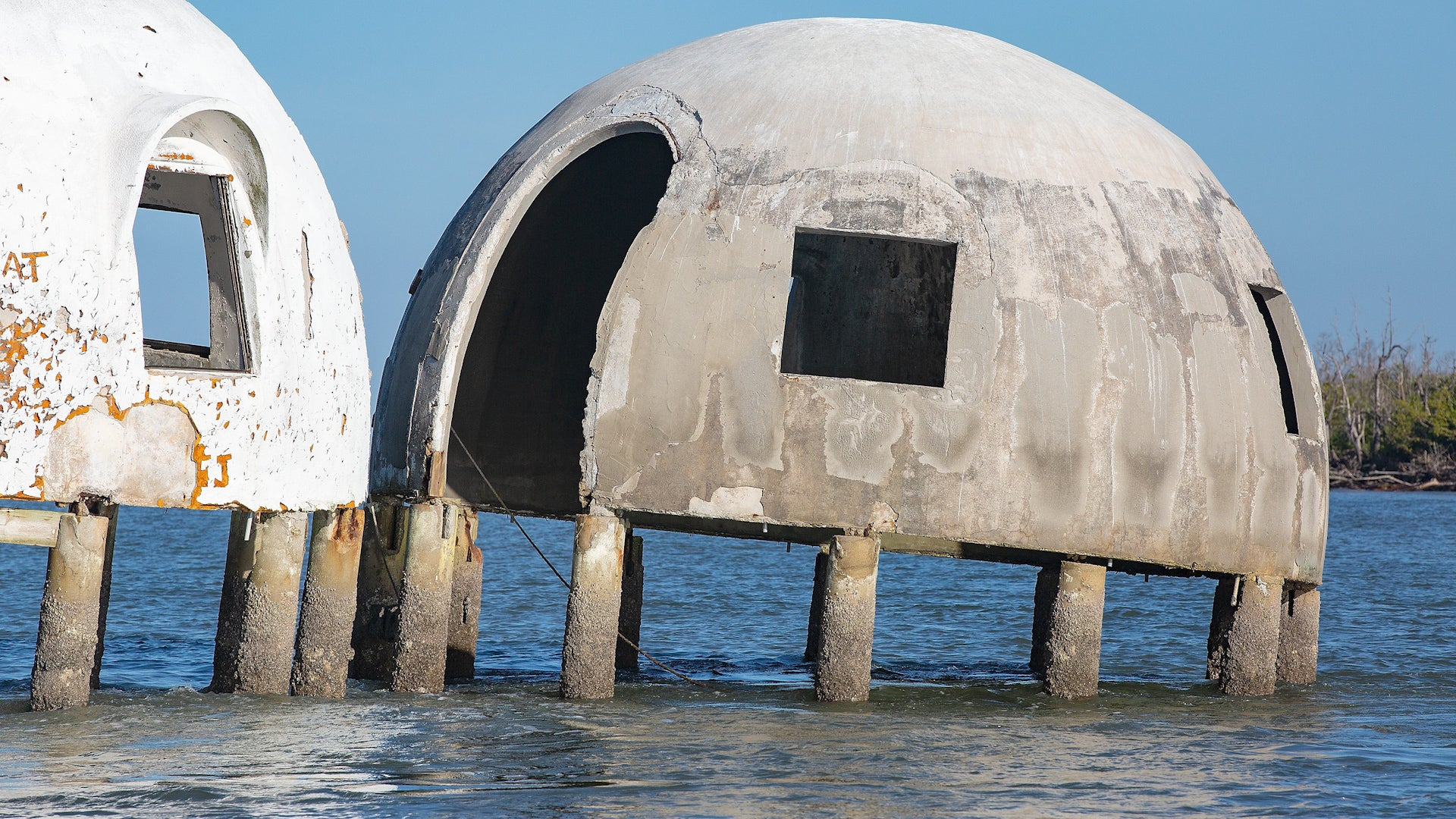 The mysterious and iconic dome home on Marco Island in Cape Romano off the coast of Florida is getting claimed by the ocean.