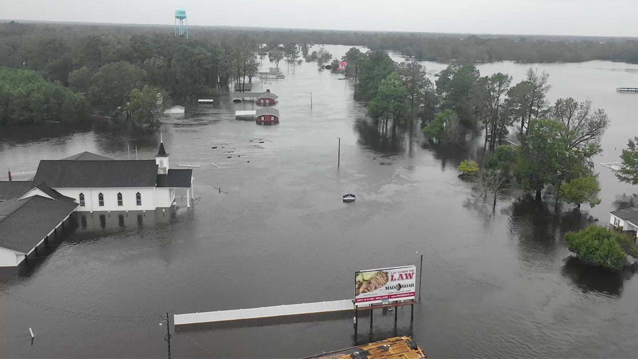 Dramatic Drone Video Shows NC Town Completely Under Water