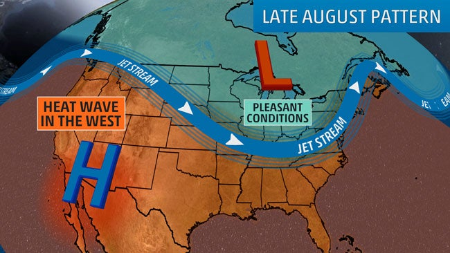 Plunges of Cooler Temperatures Will End August in Central U.S. as Heat Wave Arrives in Parts of the West