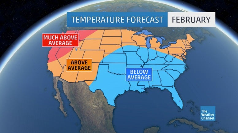 February April Outlook Update After A Cold Start Warm North Cold South Expected Into Spring The Weather Channel