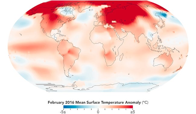 February 2016 Was the Most Abnormally Warm Month Ever Recorded – Earth Temperature Map