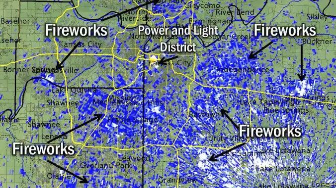 radar detects fireworks celebrating kansas city royals