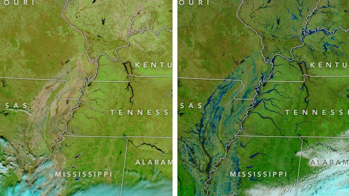 before and after images show the magnitude of flooding in