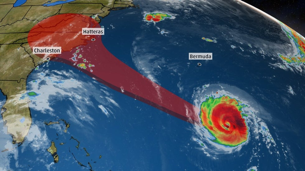 hurricane  storm surge watch issued as florence targets