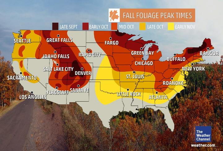When Does Your City See Peak Fall Color The Weather Channel - Fall foliage map us 2016