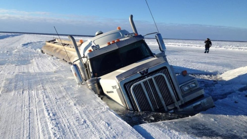 Fuel tanker collapse ice for Snow bear ice fishing