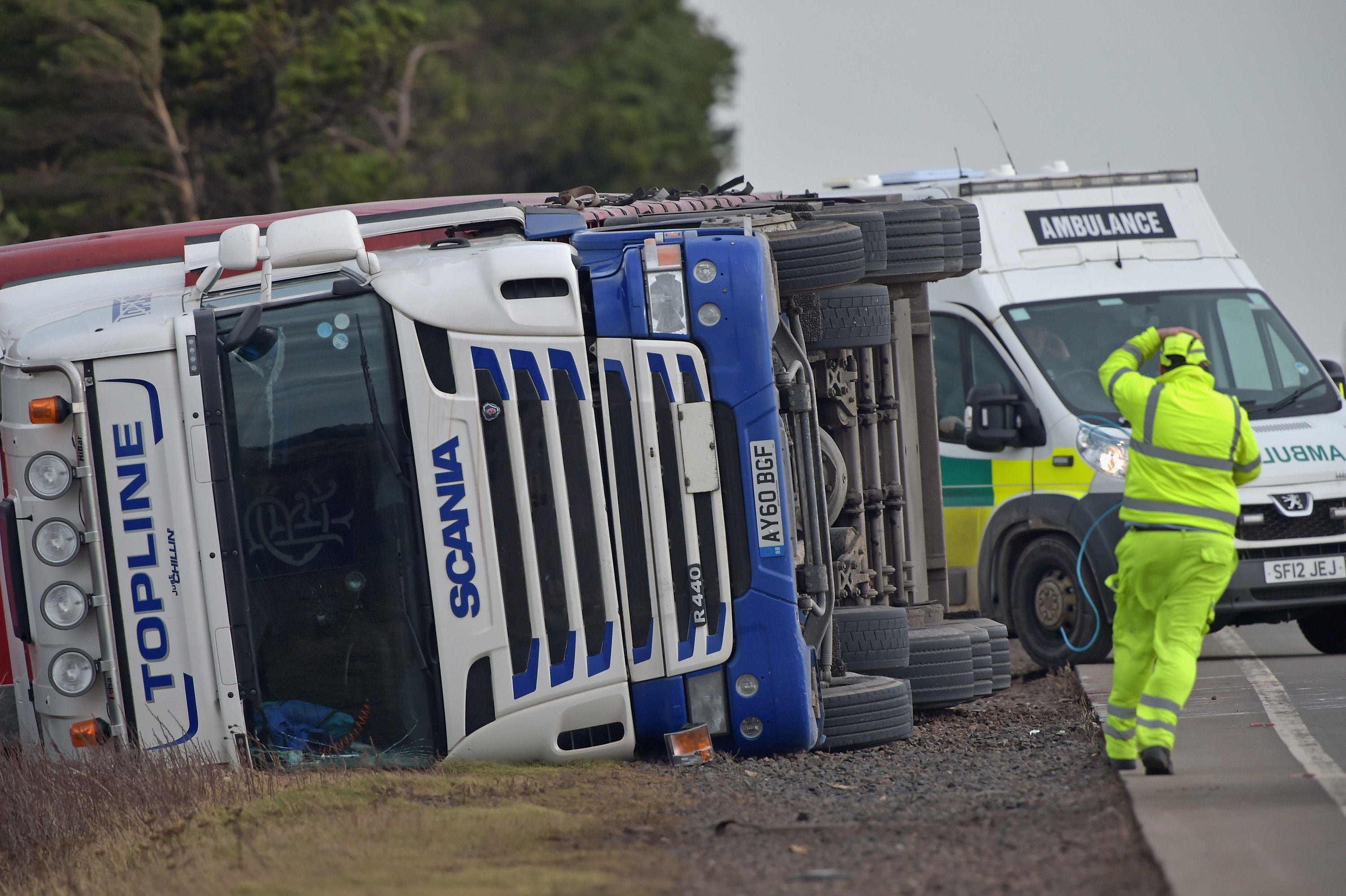 Strong winds cause closure of key road linking Scotland and England