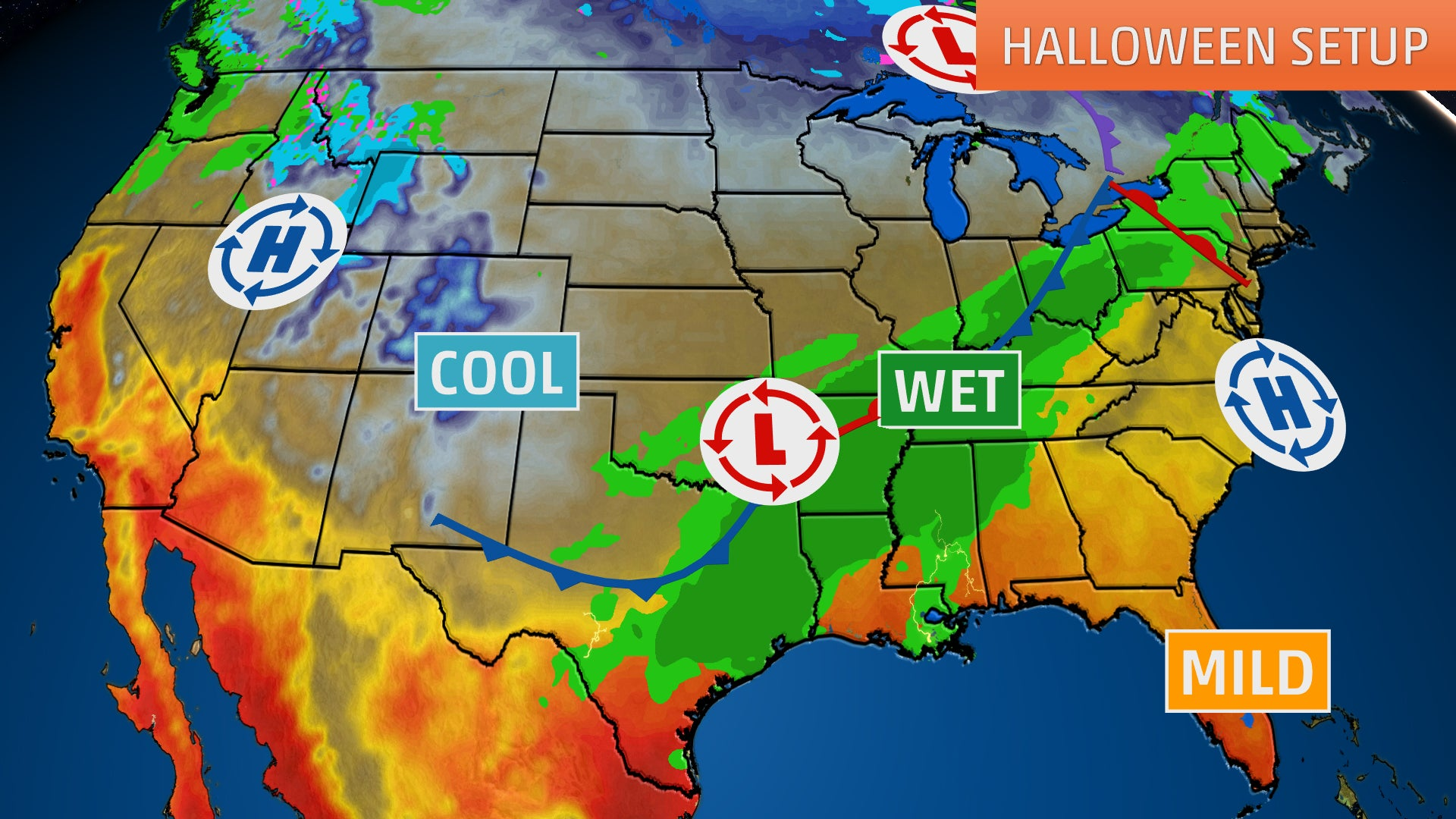 halloween weather forecast  wet conditions from texas to