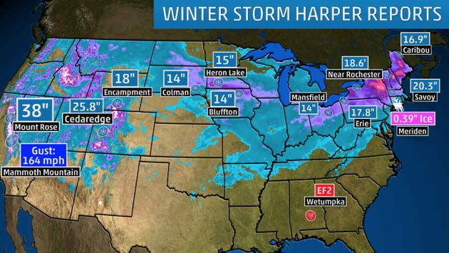 Winter Storm Harper Brings Widespread Snow To The West