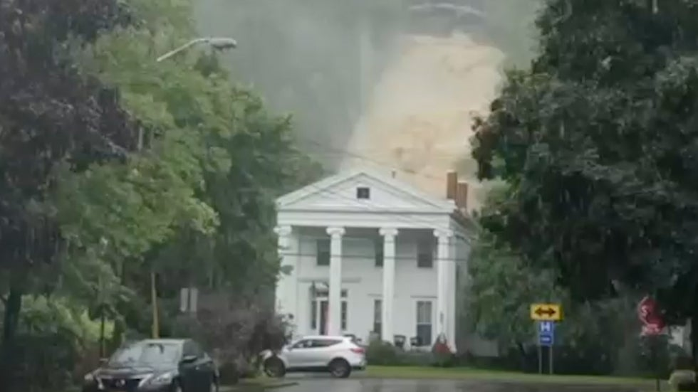 waterfall roars behind home in montour falls  new york