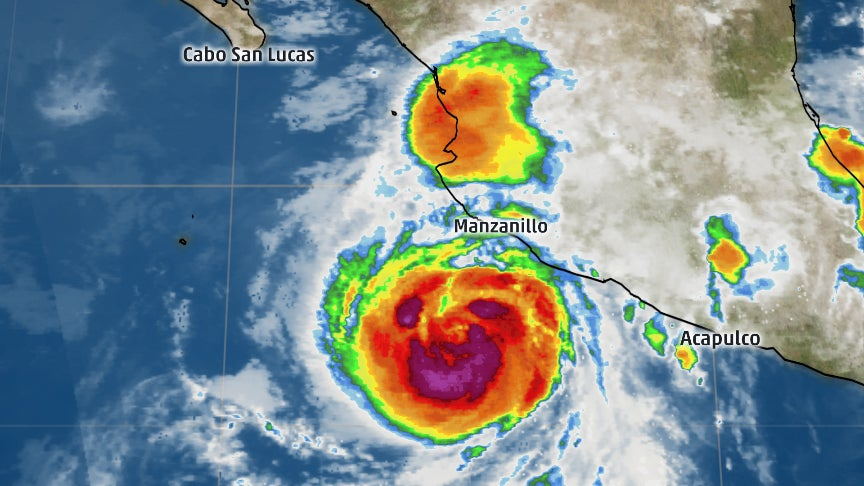 hurricane dora spins off the mexican coast