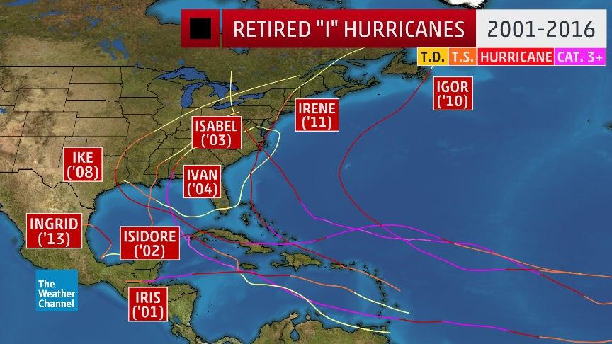 eight atlantic hurricanes that start with  u0026 39 i u0026 39  have been
