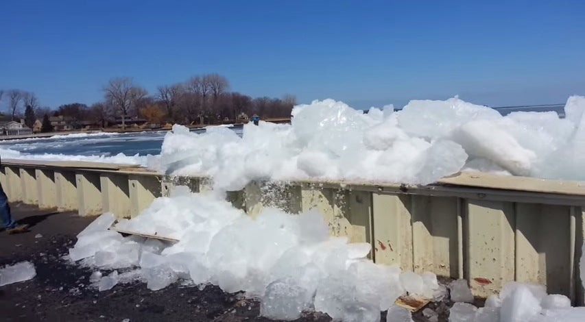 watch this ice shove ashore from lake st  clair  michigan