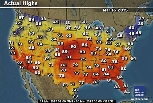 RecordBreaking Heat Degree Heat Reported In Iowa Nebraska - Us weather map march