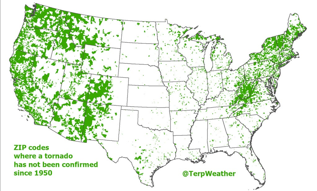 TornadoFree US ZIP Codes Since On One Cool Map The - Tornado maps in us