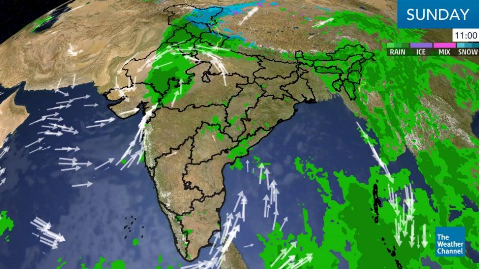 Heavy rain around Himachal and Punjab due to Depression