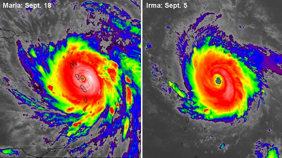 hurricanes maria and irma a rare atlantic category 5 pair in the same year