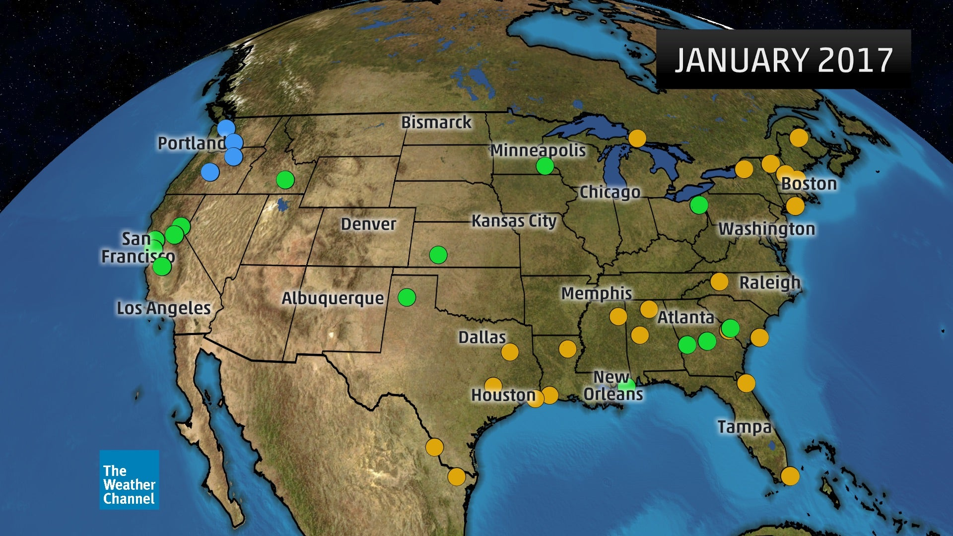 Where January  Ranked As One Of The Wettest Warmest Or - Current temperature map in us